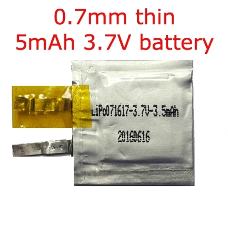 5mAh 0.7mm thin 3.7V battery