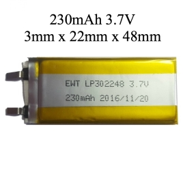 230mAh 3mm thin 3.7V battery